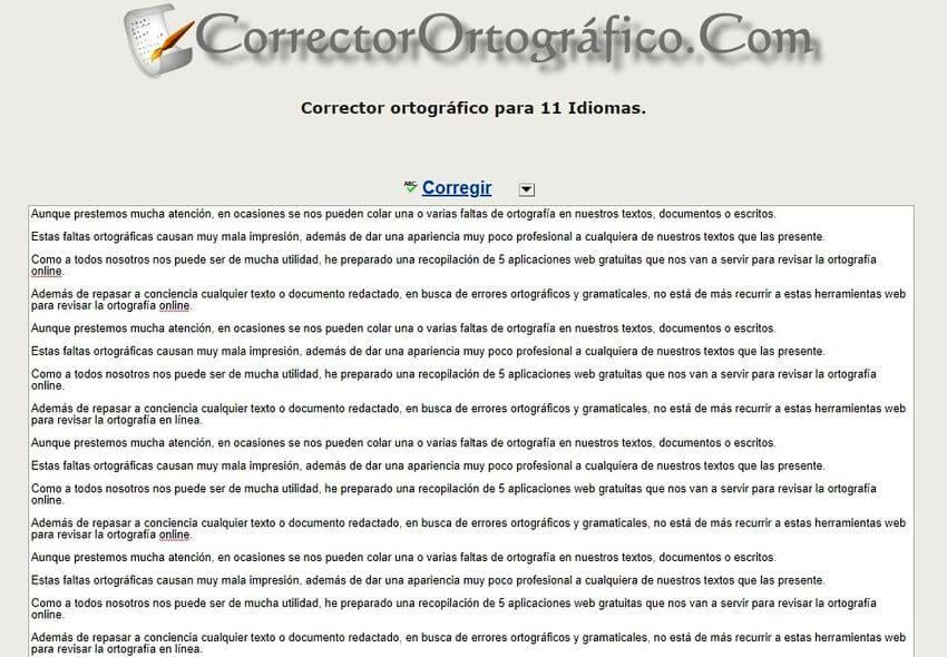 Revisar la ortografía online CorrectorOrtográfico 1 Revisar la ortografía online con estas 5 aplicaciones web gratuitas