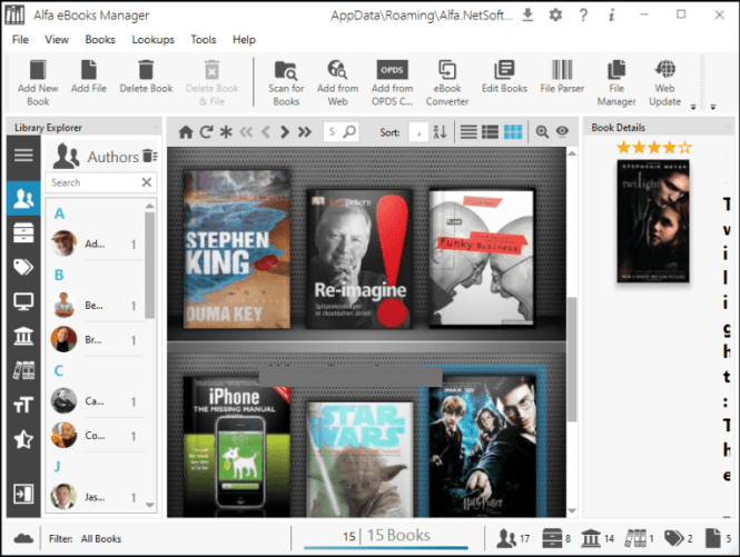 Alfa eBooks Manager Pro windows