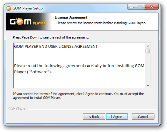 GOM Player windows
