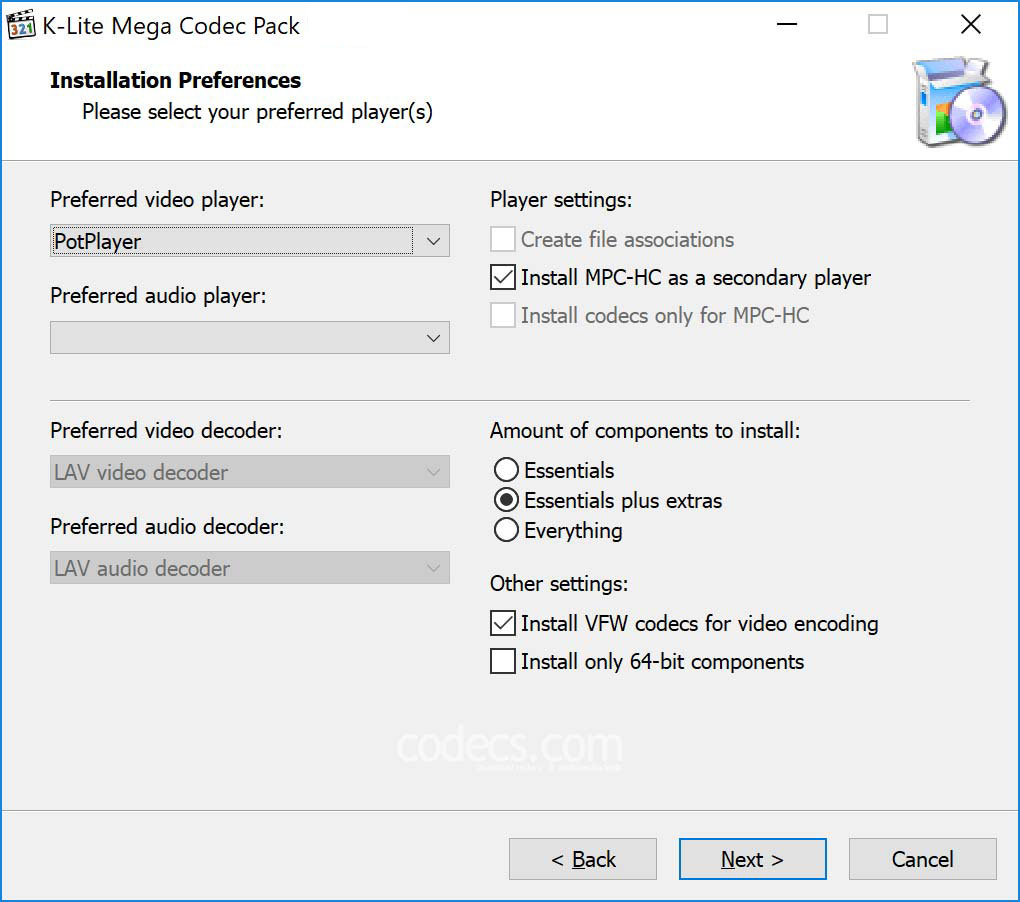 K-Lite Mega Codec Pack windows