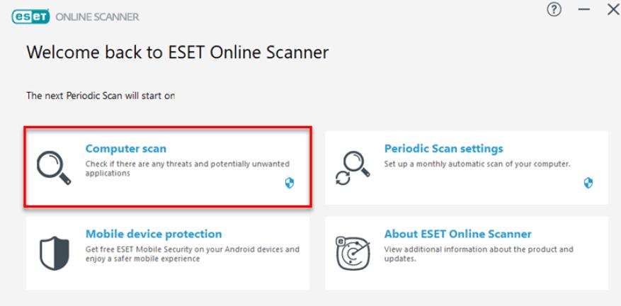 ESET Online Scanner windows