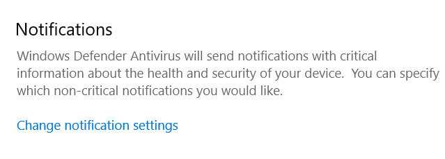 Windows Defender Notifications