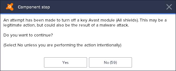 Turn off Avast 2018