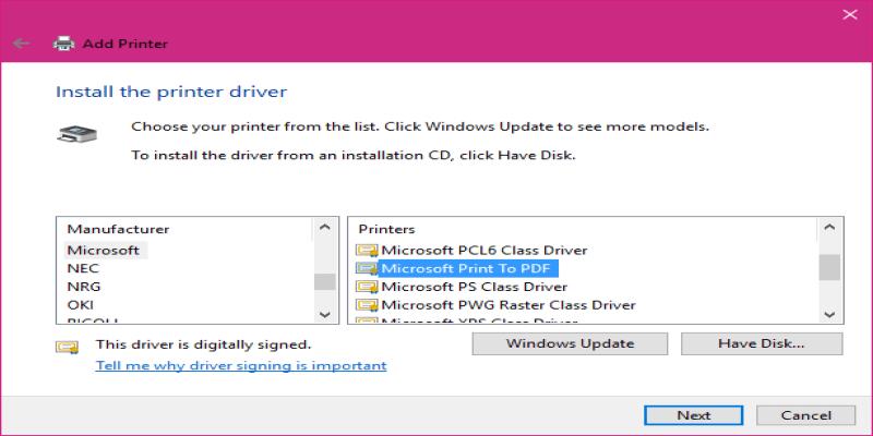 Microsoft print to PDF