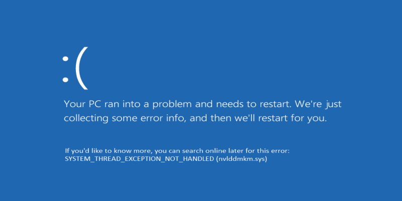 windows stop code system thread exception not handled