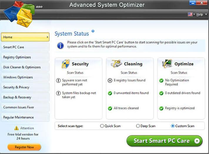 free download advanced system optimizer full version w/o/ key & crack