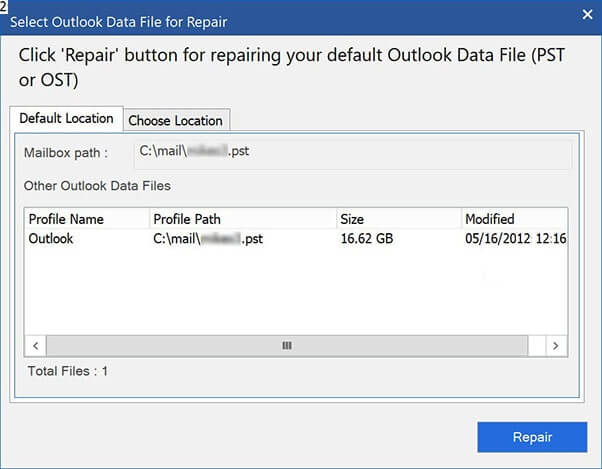Select Outlook Data File For Repair