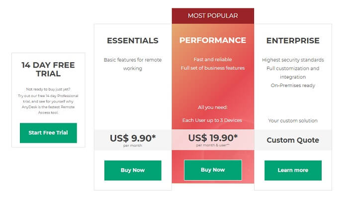anydesk license pricing detail