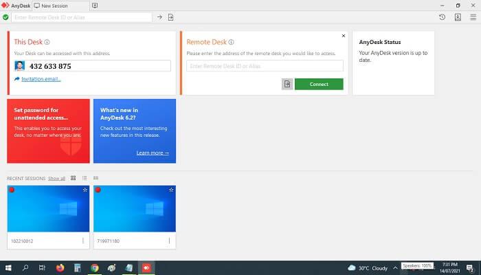 AnyDesk screenshot remote desktop