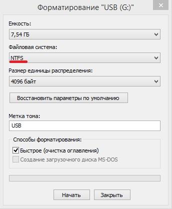 USB-formatering.