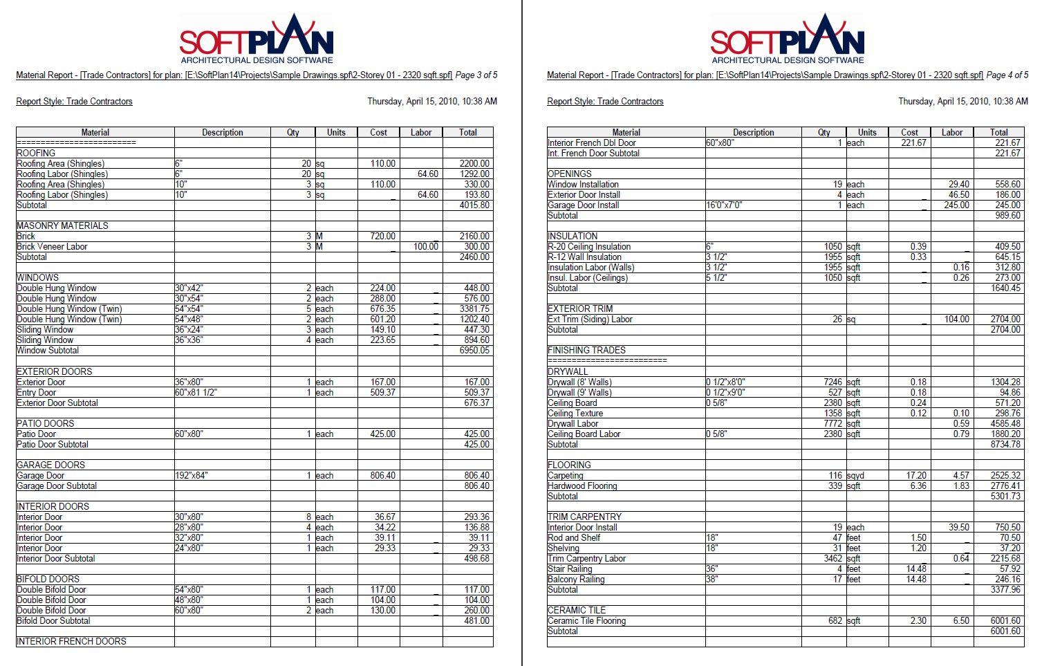 Softplan Samples Softlist Material Reports
