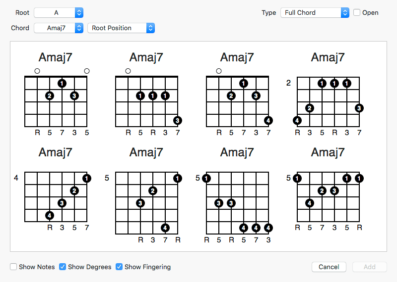 Fretspace » guitar chord and scale editor for Mac