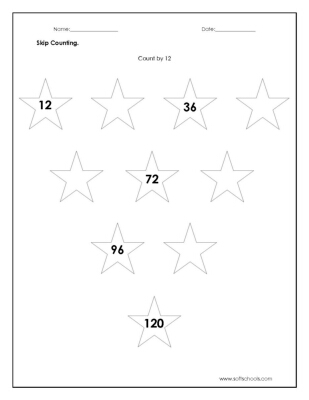 Skip Counting Count by 12 Worksheet