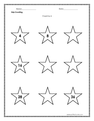 Skip Counting Count by 4 Worksheet