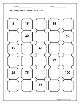 Skip Counting Vertical: Count by 5, 15, 16, 18, 20. Worksheet