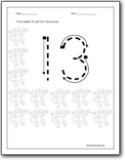 Number 13 Worksheets Number 13 Worksheets For Preschool And Kindergarten