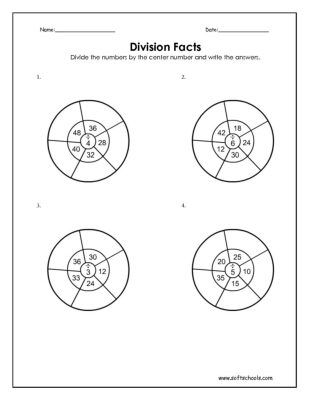 Division Facts 3, 4, 5 and 6 Worksheet