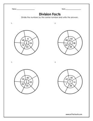 Division Facts 5, 6, 7 and 8 Worksheet