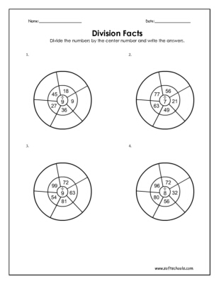 Division Facts 7, 8 and 9 Worksheet