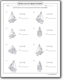 Surface Area of a Pyramid Worksheets