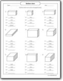 Surface Area of a Rectangular Prism Worksheets