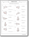 Volume of a Cone Worksheets