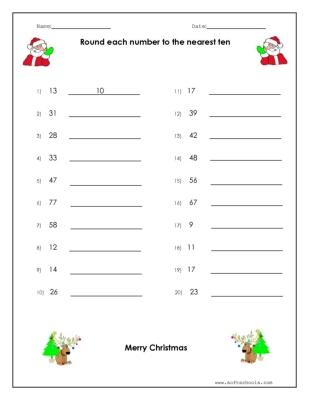 Christmas Rounding Worksheet Worksheet