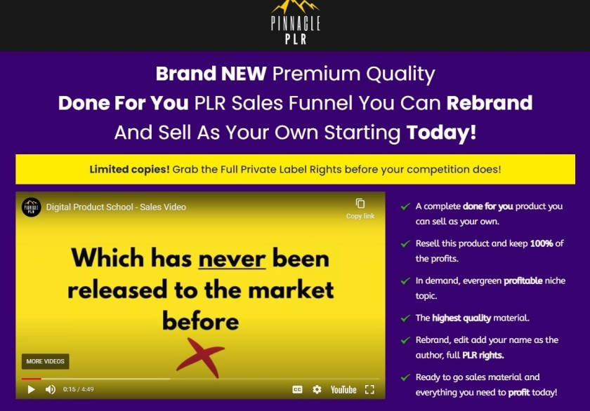 Digital Product School PLR Review: Brand NEW Premium Quality Done For You PLR Sales Funnel You Can Rebrand And Sell As Your Own Starting Today!