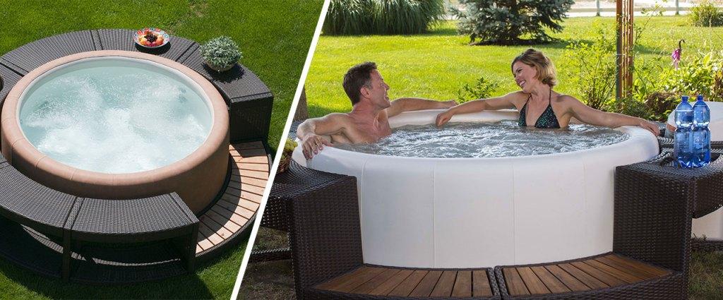 Présentation du spa extérieur Softub dans le jardin et sur une terrasse
