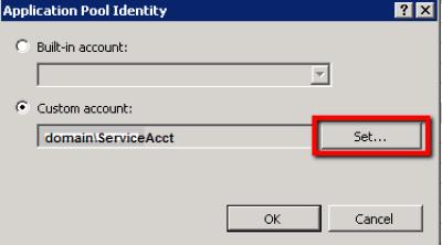 IIS Manager > App Pool > Advanced Settings > Set Button
