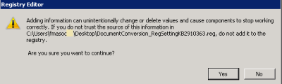 Add the Document Conversion Registry Keys to SharePoint Application Server Registry