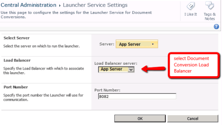 SharePoint Document Conversion Launcher Service Settings