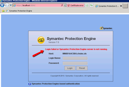 Symantec Protection Engine Portal Password Failure