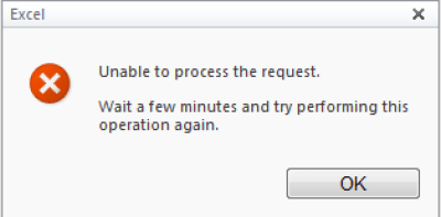 SharePoint Excel Services - Unable to Process Request Error