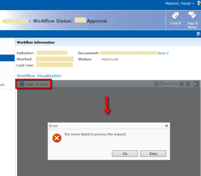 SharePoint Visio Graphics Service Error - The server failed to process the request
