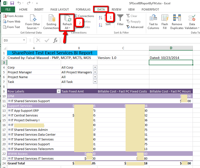 how to share a excel table and allow for updating