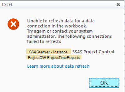 SharePoint Excel Service Excel Report with SSAS Data Connection - Data Refresh Error