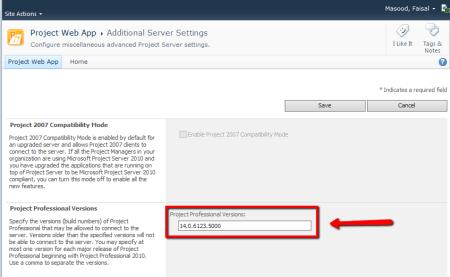 PWA Additional Server Settings > Project Professional Versions
