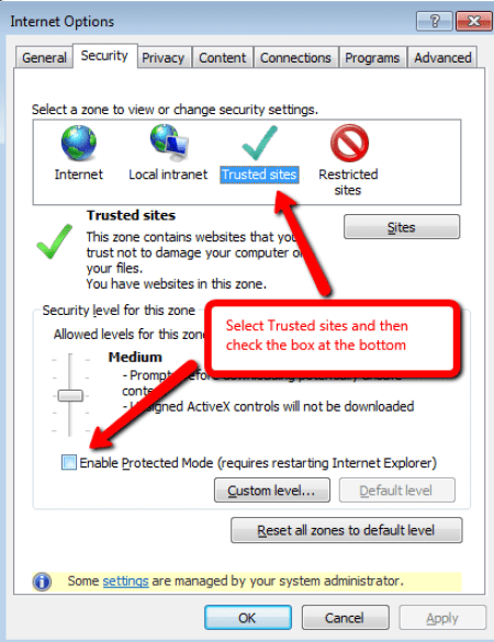 Enable Protected Mode (requires restarting Internet Explorer)' in Internet Explorer for Yammer SharePoint