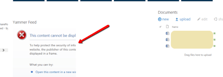 Yammer Feed Integration with SharePoint Online can't display contents in frame error