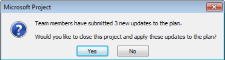 Microsoft Project Professional - Team Members submitted updates message