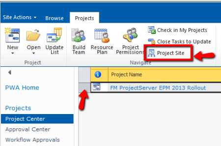 MS Project Web Access (PWA) - Select a Project and go to Project Site
