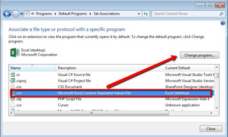 CSV File Association - Control Panel > Default Programs - CSV File Type Associate