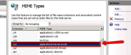 SharePoint Servers - IIS Manager > Updated MIME Types for .CSV Extension