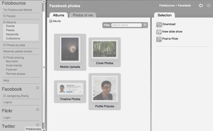 Using Fotobounce to download facebook photos albums