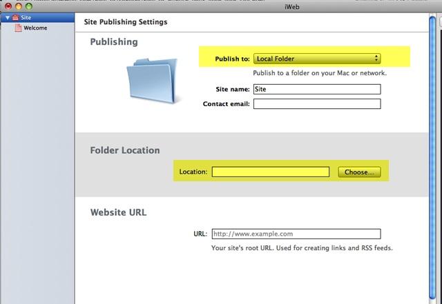 Publish iWeb Site to Local Folder on Mac