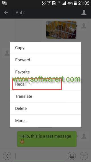 Recall a message in WeChat