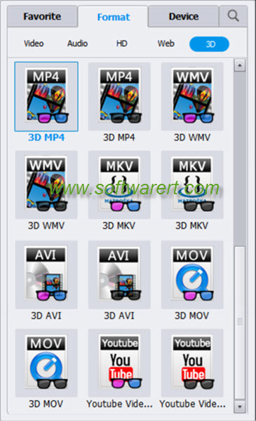 select 3d movie formats in video converter