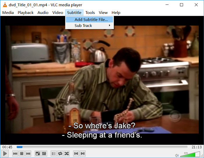 add subtitle to movies, dvd, videos in vlc media player