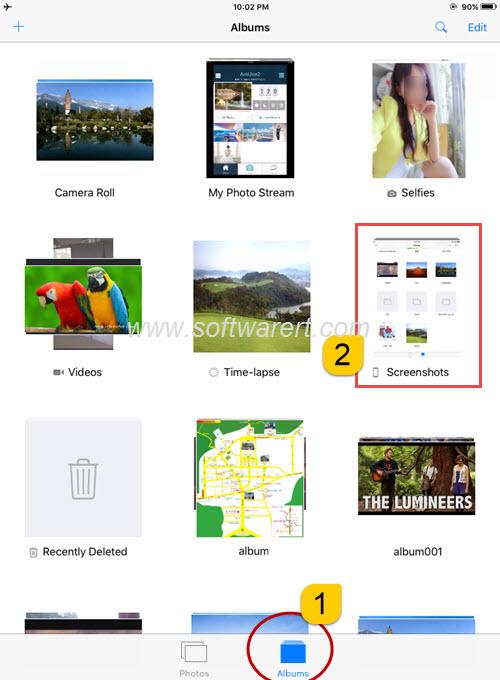 screenshots album in ipad photos app